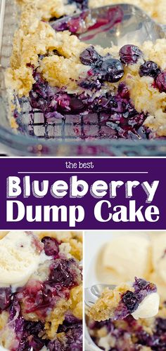 The Best Blueberry Dump Cake recipe: Blueberries, cake mix + a few more ingredients come together to make this amazing buttery, decadent blueberry dessert. Easy Blueberry Desserts, Blueberry Dump Cakes, Easy Desserts, Blueberry Recipes Cake Mix, Best Blueberry Recipe, Blueberry Upside Down Cake, Homemade Desserts, Dessert Simple, Dump Cake Recipes