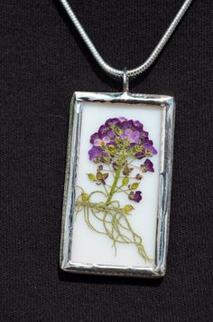 Flower Jewelry Stained Glass with Dry Pressed Flowers by BayouGlassArts, $34.00