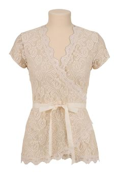 Lace shirt wrap cream also cream and black version bow