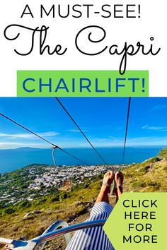 """...""""However there is an AWESOME chair lift which takes you to the top. With an elevation of 589 metres this ride is not to be missed!"""" CAPRI ITALY / CAPRI / CAPRI CHAIRLIFT / MONTE SOLARO / CAPRI ITALY THINGS TO DO / BUDGET FRIENDLY THINGS TO DO IN CAPRI / PRETTIEST PLACES TO SEE IN ITALY / TOP THINGS TO DO IN CAPRI / CAPRI ITALY SUNSET #CAPRI #THINGSTODOINCAPRI #CAPRICHAIRLIFT #MONTESOLARO via @daweswideopen FAVOURITE CITIES OF THE WORLD"""