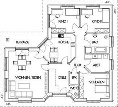 Winkelbungalow Grundriss Ground floor with 132 m² living space - Architecture Bedroom Layouts, House Layouts, Space Architecture, Residential Architecture, Small House Plans, House Floor Plans, Weekend House, Corner House, Local Architects