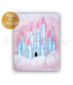 Castle Wall Art, Baby Girl Nursery, Princess decor, Pink Blue, Princess wall art, Girls room decor, Girl Nursery art, Princess castle print