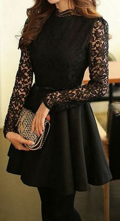 Black Lace-Bodice Dress