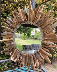 Driftwood Projects, Drift Wood, Glass Candle Holders, Round Mirrors, Blue Tones, Sea Glass, Ocean, Frame, Design