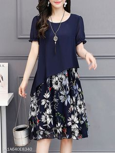 Buy Round Neck Floral Printed Chiffon Shift Dress online with cheap prices and discover fashion Shif Cheap Maxi Dresses, Modest Dresses, Elegant Dresses, Casual Dresses, Shift Dresses, Chiffon Dresses, Chiffon Saree, Modest Clothing, Fall Dresses