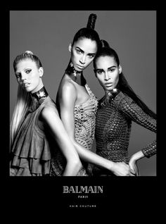 Balmain Paris Hair Couture presents the Spring/Summer 2016 Campaign starring Balmain muses Noémie Lenoir, Cindy Bruna and Devon Windsor.  The Catwalk Ponytail is a Balmain Hair classic, first introduced in the early seventies and worn by women worldwide. This signature look made a show-stopping entrance at the Balmain Spring/Summer 2016 show. Balmain Master Hair Designer, Nabil Harlow translated this classic look into a modern way for all women.