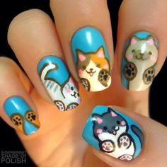 Maybe you have discovered your nails lack of some popular nail art? Yes, lately, many girls personalize their nails with lovely … Cat Nail Art, Animal Nail Art, Cat Nails, Minion Nails, Fancy Nails, Love Nails, Pretty Nails, Nail Polish Designs, Cute Nail Designs
