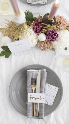 Sophisticated gray plates, napkins, use gold metallic postcard, on white cover, pops of mauve, plum, naturals in beige