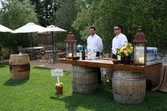 Rustic bar setting for rustic vintage wedding for Katie + Brett in Napa Valley!!