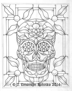 A pattern for stained glass. Designed at 16 by 20 cm by cm). Pattern is a black and white pdf. Finished window photo reproduced with permission of Peter Doyle, Artist. Free Mosaic Patterns, Stained Glass Patterns Free, Stained Glass Designs, Stained Glass Flowers, Faux Stained Glass, Stained Glass Projects, Glass Painting Patterns, Glass Painting Designs, Sugar Skull Art