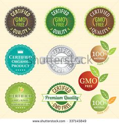 GMO Free Non GMO and organic guarantee tag logo label emblem sticker for plant fruits and vegetable