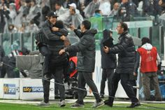 Juventus     head coach Antonio Conte (L) celebrate victory at the end of the Serie A match between Juventus and Bologna FC at Juventus Aren...