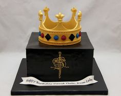 3D Box Cake with Crown Topper