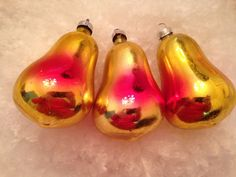 3 Antique Feather Tree Golden Pears Mercury Glass Christmas Ornaments Germany