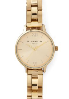 Teacup and Running Watch in Gold. With a final sip of jasmine tea, you take a glance at this Olivia Burton watch and glide out the door in style!  #modcloth Just for Fun.