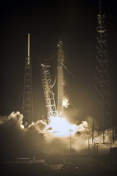 SpaceX has launched its Falcon 9 rocket early on Monday, carrying the CRS-9 Dragon spacecraft bound for the International Space Station (ISS) with a cargo of supplies for the outpost and a docking adaptor for future manned missions. Liftoff from Cape Canaveral occurred at 00:44 local time (04:44 UTC), with a successful landing at LZ-1 for the first stage.