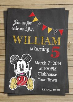 Mickey Mouse Chalkboard birthday party invitation