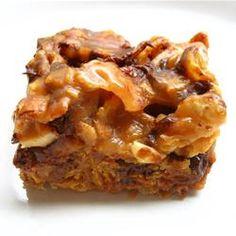 Babe Ruth Bars ~    No bake bars that taste like a candy bar!    Recipe @:  http://allrecipes.com/Recipe/Babe-Ruth-Bars/Detail.aspx?ms=1=107403441=WhatsCooking=2013-03-07=RecipeArea1=FullRecipe_2=1