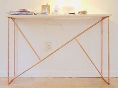 Ikea Hack Ideas: New Legs for your Ikea Furniture - james and catrin Pipe Leg Table, Diy Table Legs, Copper Wood, Copper Table, Copper Furniture, Pipe Furniture, Furniture Ideas, Couch Table, Console Table