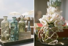 An Organic Beach Wedding Reception: message in the bottle