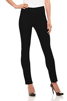 Womens Straight Leg Dress Pants - Stretch Slim Fit Pull On Style, Velucci