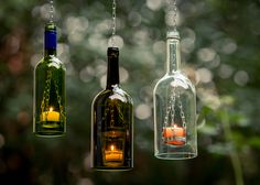 Handgefertigte Teelichtlampen aus schönen Flaschen von cocktailtumblers auf DaWanda.com