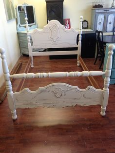 This bed is a Full Size. It comes with everything you see here; headboard, footboard and rails ready to be setup in the kids room or maybe the guest bedroom? Where would you use it?. SOLD!! for $225