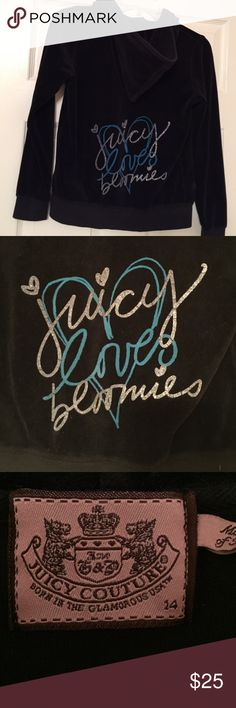 "Juicy Couture Velour Tracksuit Zip-Up Juicy Couture velour track suit zip up with Bloomingdales exclusive design: ""Juicy Loves Bloomies.""  Features silver and blue glitter writing with minimal cracks. Comfy & cozy!! Juicy Couture Shirts & Tops Sweatshirts & Hoodies"