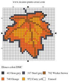 disegno punto croce foglia