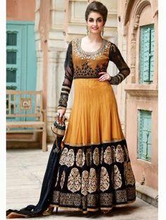 Dark Orange Anarkali Salwar Kameez with Free Designer Potli Bag