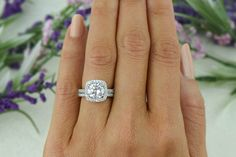 2.25 ctw Classic Square Halo Engagement Set Man by TigerGemstones
