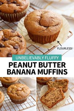 These Peanut Butter Banana Muffins are unbelievably fluffy! Made with no flour, they are high in protein and are sweetened with honey. Quick & easy recipe! #muffin #glutenfree #dairyfree #peanutbuttermuffin #healthybaking #glutenfreerecipes #healthyfood #healthyeating #veganrecipes #vegetarian #detox #banana Peanut Butter Muffins, Peanut Butter Protein, Peanut Butter Recipes, Peanut Butter Banana, Chocolate Peanut Butter, Chocolate Tarts, Chocolate Fudge, Banana Protein Muffins, Healthy Muffins