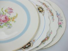 Mismatched China Dinner Plates, Vintage China Mismatched Dinner Plates set of 4, Wall Decor by FreeLiving on Etsy