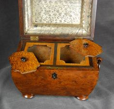 Interior view 2, English Burl Walnut Double Tea Caddy - The Farm Antiques, Wells Maine