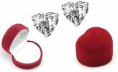 Amazon.com: Heart CZ Stud Earrings in Sterling Silver overlay, Gift-Boxed: Everything Else