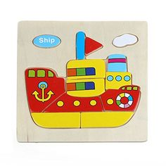 Usstore Baby Kid Child Wooden Ship Jigsaw Toys For Kids E...…
