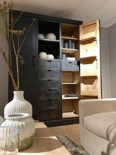 Buffetkast Dark Old Pinewood - Kasten - Collectie - Looiershuis Wall Unit, Shelves, Home Deco, Shelving, Home, Room, Shelving Unit, Bookcase, Furniture