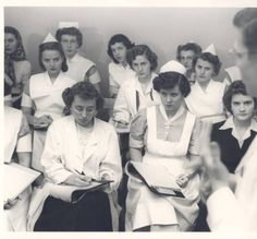 Nursing students in a class taught by Dr. Gene Klingberg at St. Louis Children's Hospital, 1949.