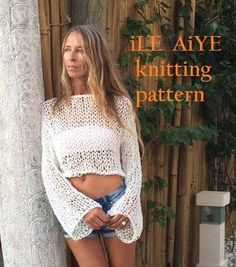 This is a Knitting Pattern for a loose knit cropped slouchy sweater. The same style as shown in the images. --------------------This is not a listing for a finished poncho - only a pattern--------------------------------- . Skill level - Beginners / easy . Pattern - Knitting, basic knitting