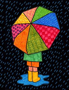 How to Draw an Umbrella · Art Projects for Kids Easy Disney Drawings, Cute Easy Drawings, Art Drawings For Kids, Pencil Art Drawings, Drawing For Kids, Art For Kids, 3d Art Drawing, Drawing Ideas, Easy Drawing Tutorial