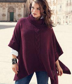 H & M fall poncho Knitted Poncho, Knitted Shawls, Crochet Poncho Patterns, Knit Crochet, Curvy Fashion, Plus Size Fashion, Capes & Ponchos, Tara Lynn, Plus Size Patterns