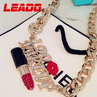 LEADO new 2014 brand metal chain created diamond kiss letter statement necklaces jewelry for women wedding accessories LJ019