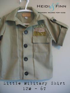 Little Military Shirt pattern and tutorial PDF 12m-6t slim fit shirt boys. $6.00, via Etsy.