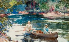 "Frank Weston Benson, ""Downstream,"" 1923, watercolor on paper"