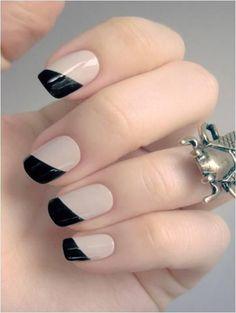 Black and nude nails nails nail black nude pretty nails black nails nail ideas nail designs nude nails Love Nails, Pretty Nails, My Nails, Gorgeous Nails, Color Nails, Shellac Nails, Perfect Nails, Essie, Black And White Nail Art