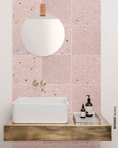 New trend of doing terrazzo, try terrazzo tile to make your bathroom more texture:) #pink #pinkterrazzo #terrazzo #pinktiles #bathroom…