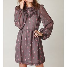 "Free People Monarch Wings Dress Adorable long sleeve dress with crinkle print fabric and high, ruffle neckline. Features elasticized sleeve cuffs and hidden zipler in the back. Semi sheer. Lined. Leght: 33.5"", Bust: approx. 18.5"" Waist: 16.5-17"". NWOT Free People Dresses Mini"