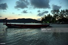 seascape with sunrise, local boat near the beach at sunrise, Koh Rong Samloem, Cambodia, Southeast Asia.  #getty #gettyimages #purchase #moment #rf #photo #photograph #photography #koh #rong #kohrong