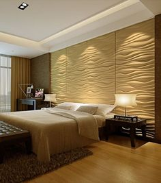 Wall panels with waved pattern