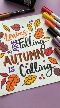 Autumn leaves painting ideas are a great way for kids to practice their painting skills. This postcard DIY kids craft from Artistro paint pens allows children to create interesting paintings perfect for sharing with family and friends. The brush pen in the Artistro set makes drawing and writing easy and fun! Hand Lettering Art, Brush Lettering, Autumn Family Photos, Paint Pens For Rocks, Paint Marker Pen, How To Make Drawing, Leaf Template, Air Brush Painting, Letter Art